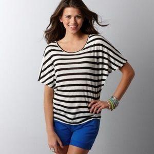 ANN TAYLOR Black/White Striped Wedge Top Shirt C4